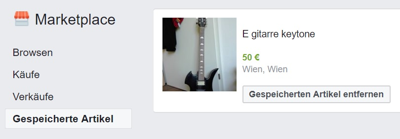Facebook Marketplace Option gespeicherte Artikel